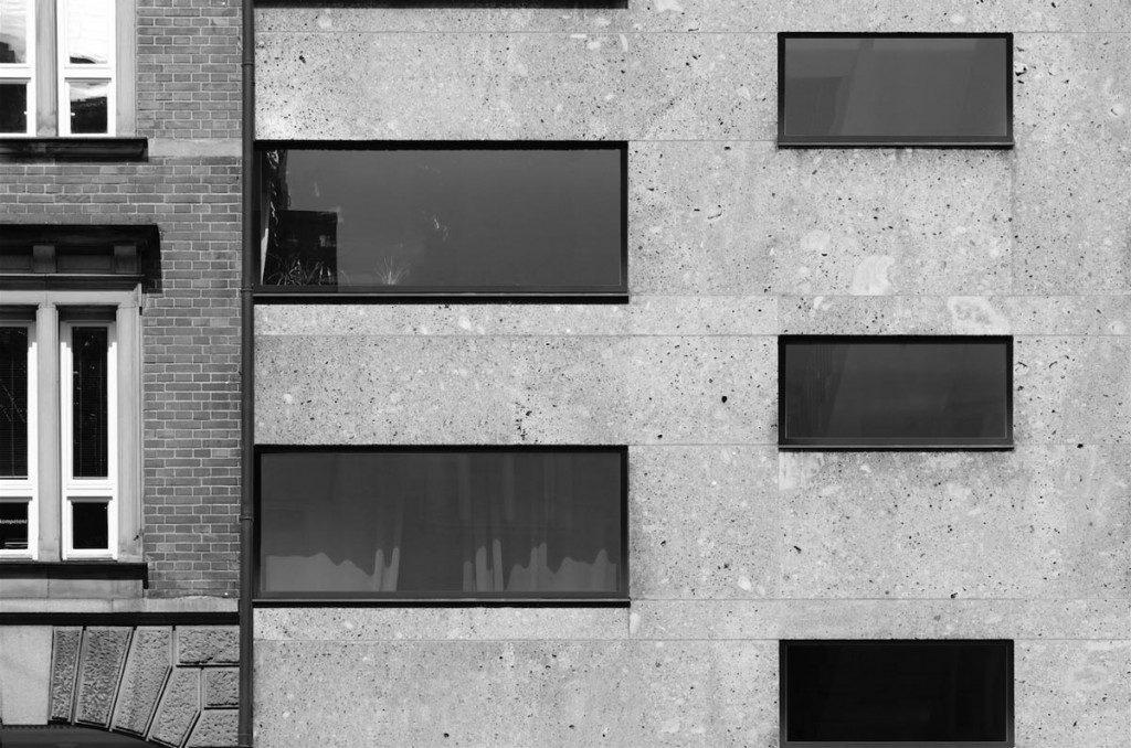 Rendering Fassade schwarz weiß