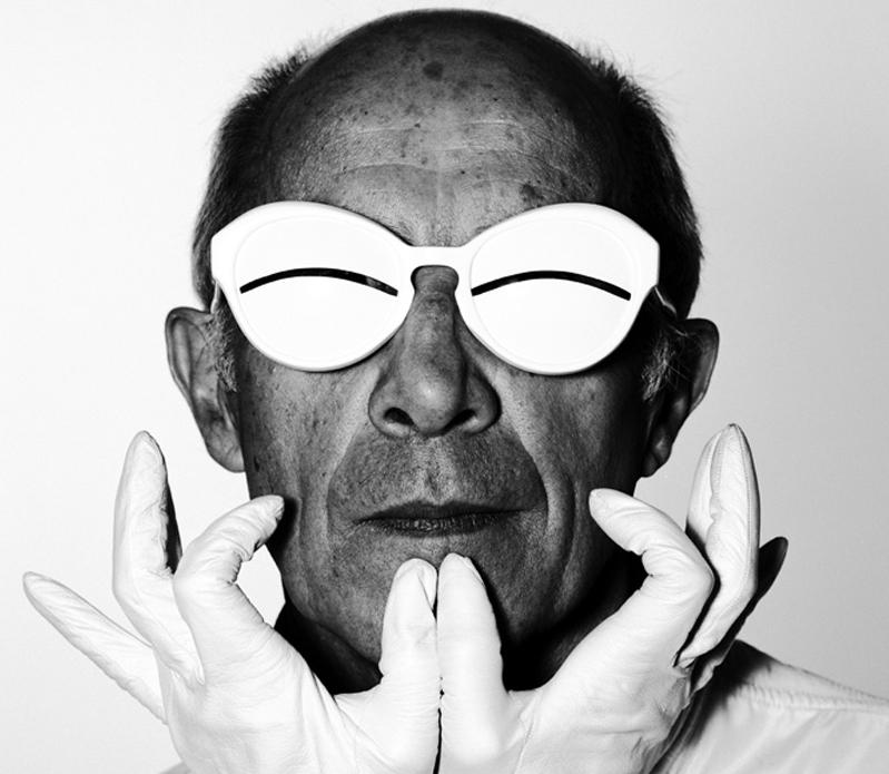 Porträt Andre Courreges schwarz weiß