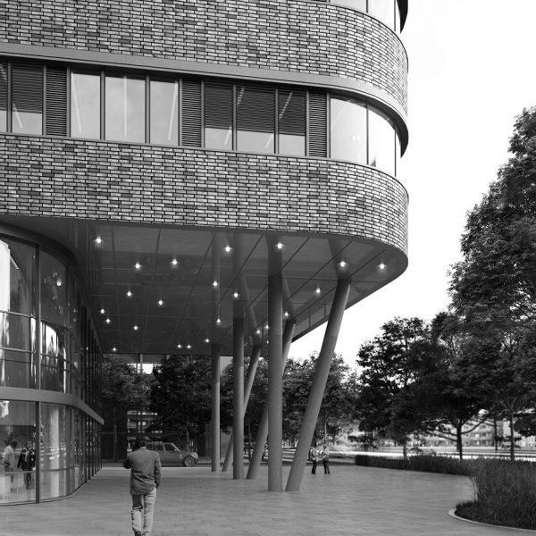 Foyer des Neubaus von BRECHENSBAUER WEINHART + PARTNER ARCHITEKTEN in Hamburg
