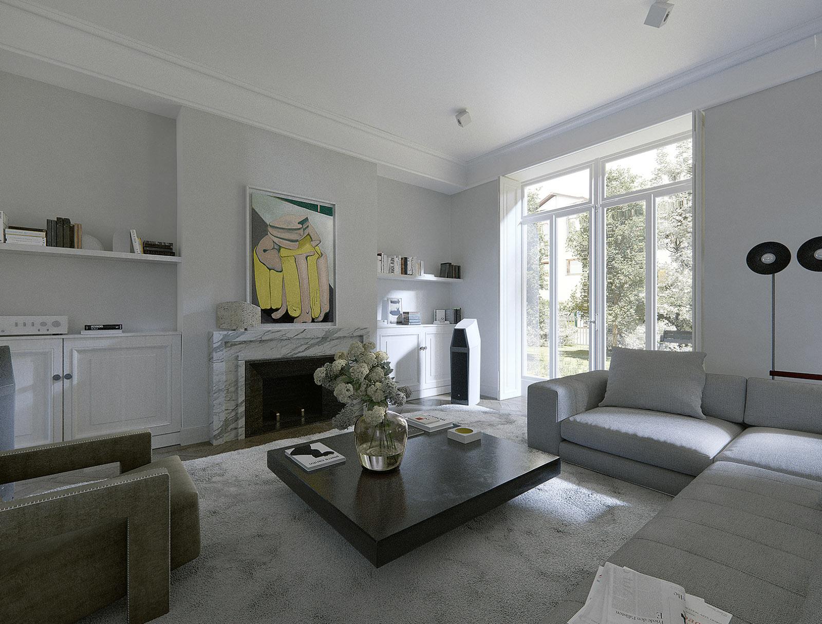 Rendering Innenraum Wohnbereich
